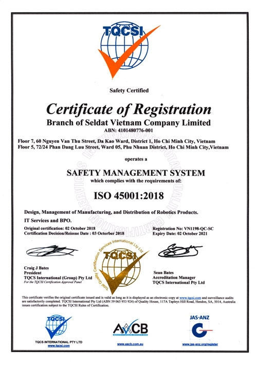 cong ty cong nghe seldat duoc nhan chung chi iso 90012015 va iso 450012018